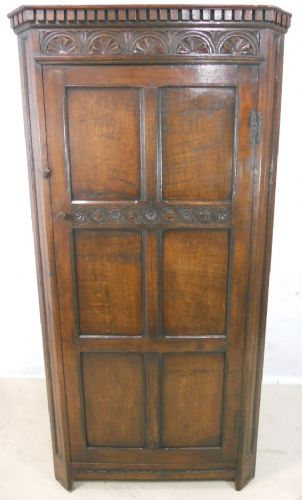Antique Style Carved Oak Corner Wardrobe - SOLD
